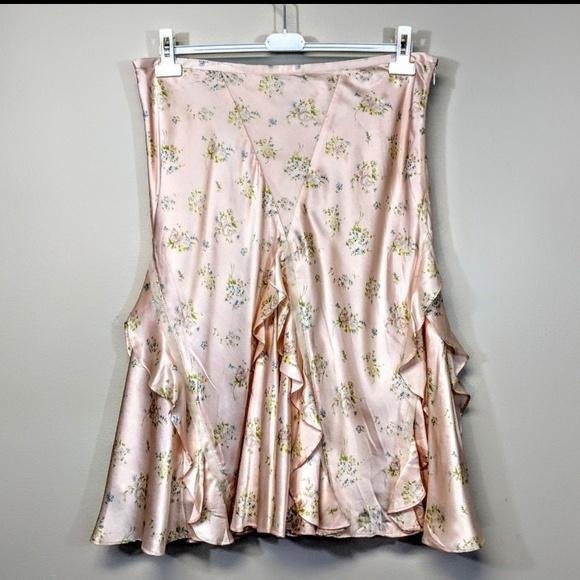 Ralph Lauren Dresses & Skirts - Ralph Lauren Silk Satin Floral Skirt